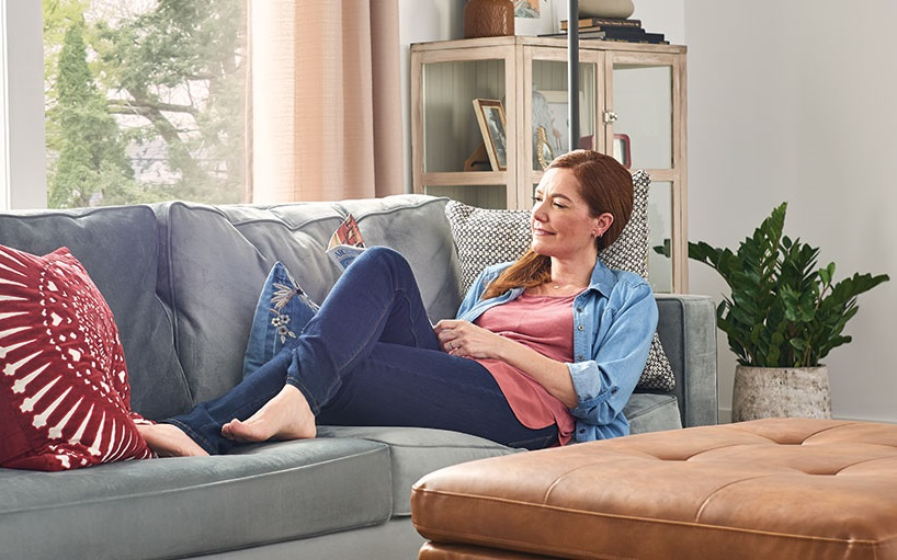 woman relaxing in cool home
